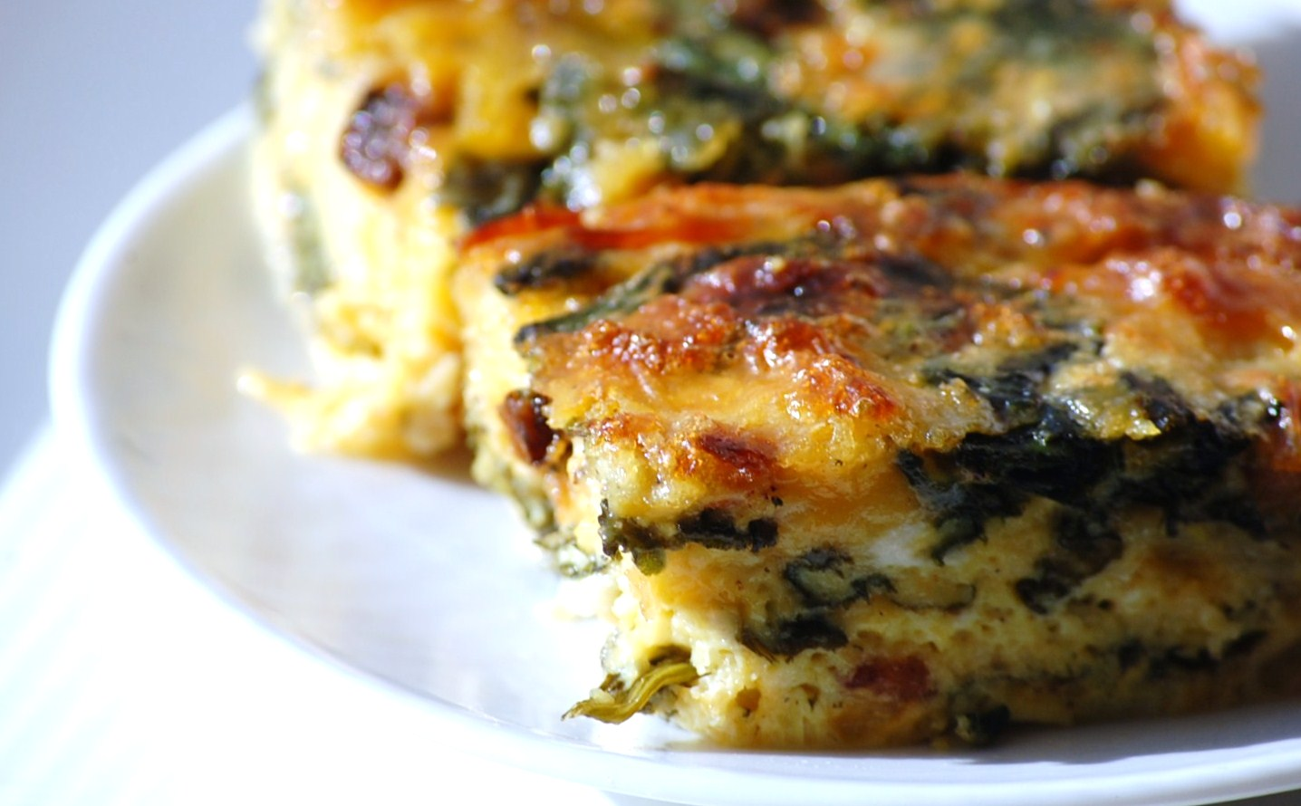 Bacon, Spinach, & Cheddar Crustless Quiche | Eastside Epicurean